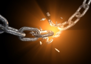 A metallic chain with an explosed link.