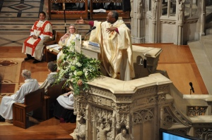 Presiding Bishop Michael B. Curry calls on Episcopalians to become evangelists and reconcilers during his Nov. 1 sermon at Washington National Cathedral just after he was installed as The Episcopal Church's 27th presiding bishop and its primate. Photo: Mary Frances Schjonberg/Episcopal News Service