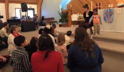 Reading a story as a part of the Confirmation service at Nativity, Burnsville this past weekend